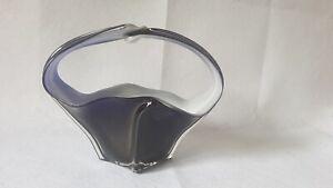 MEDIUM 1970s MURANO ART GLASS BASKET FORM CENTREPIECE BOWL ~ MILK & COBALT TONES