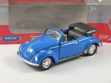 VOLKSWAGEN BEETLE CABRIOLET in Blue 1/38 scale model by WELLY