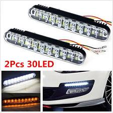 2x30LED Car Daytime Running Light White DRL & Amber Turn Signal Fog Driving Lamp