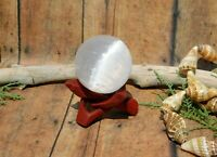 "Selenite Sphere 1.6"" with Wood Stand for Energy Work Healing Natural Home Decor"
