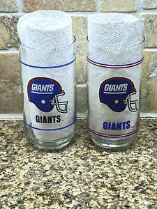 TWO Vtg New York GIANTS NFL football 14oz drinking glasses tumblers Mobil 1980's
