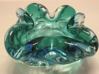 VINTAGE MURANO ART GLASS SOMMERSO AQUA-TEAL-GREEN FOLDED CORNER BOWL/ASHTRAY