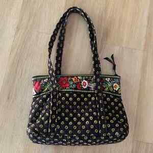 Vera Bradley Quilted Tote Zip Shoulder Bag Purse Fabric Floral Daisys Black