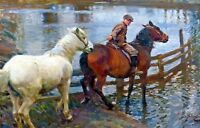 "Sir Alfred Munnings, Crossing the Ford, Horse, river, antique deco, 16""x10"" ART"