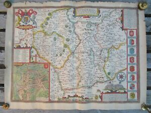 Antique John Speed Map of Leicestershire from a book unframed hand coloured VGC