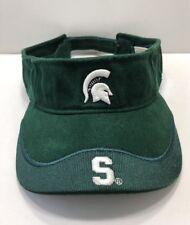 NCAA Michigan State Spartan Visor Cap Hat Adult Adjustable Green Corduroy Cotton