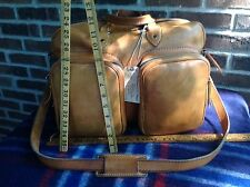 VINTAGE 1970's BRITISH TAN RUGGED BASEBALL GLOVE LEATHER DUFFLE GYM BAG R$798