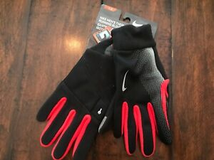 $25 NIKE Running Gloves Men L Large Microfleece Therma Tech Reflective Red NEW