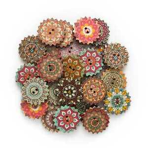 50pcs Painted Gear Wood Buttons for Handwork Sewing Scrapbook Clothing Crafts