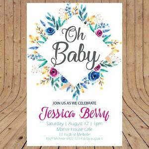 Personalised BABY SHOWER Floral Invitations  DIGITAL - YOU PRINT -
