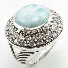 Larimar Ring Size 8 Free Gift Box Stylish Jewelry Gift ! 925 Silver Genuine