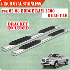 "Fit 02-08 Dodge Ram 1500 Quad Cab 4"" Running Board Side Step Nerf Bar S/S Oval"