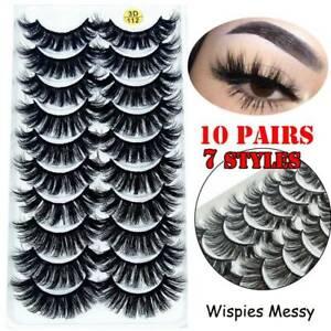 SKONHED10Pairs/Box 3D Mink False Eyelashes Wispy Cross Fluffy Extension Lashes