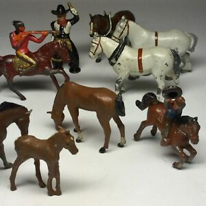 Vintage Lot of (9) Painted Lead Horses, Cowboys and Indian, 1930-40s, Excellent