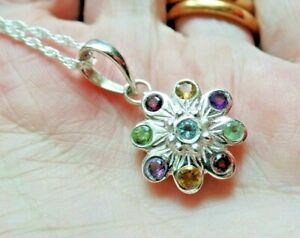 Sterling Silver Garnet Amethyst Citrine Peridot and Blue Topaz Necklace