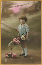 RPPC tinted real photo postcard GIRL child in blue holding basket, roses PC216