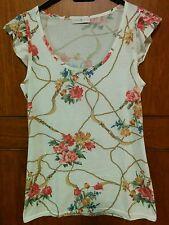 Top,canotta,camicetta,maglietta,voulant,bianca,fiori, Cache Cache ,Taglia S