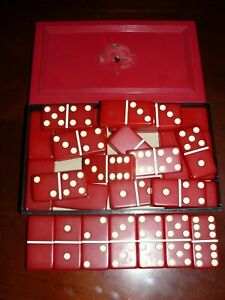 Crisloid Top Grade Dominos Vtg Red Dominos With Original Red Case 28x Double 6x6