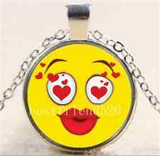 Kissing Yellow Smiley Face Emoji Cabochon Glass Tibet Silver Chain Necklace