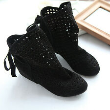 Womens hollow Out Breathable Ankle Boots Fashion Flat Oxford Casual Shoes