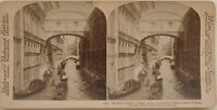 Venezia Pont Dei Sospiri Italia Foto Stereo Vintage Albumina 1898