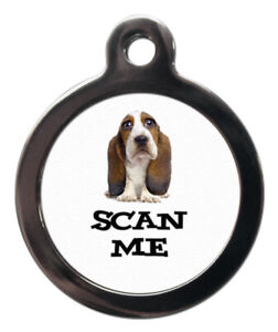 Pet ID tag SCAN ME BASSET HOUND DOG Picture Tag 2 sizes