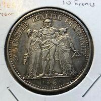 1966 France Hurcules 10 Francs Silver Coin