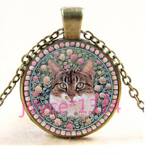 Glass Chain Pendant Necklace Ts-3394 Vintage Flower Cat Cabochon bronze