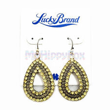 Lucky Brand Antiqued Gold Tone Shiny Yellow Pave Stone Teardrop Drop Earrings