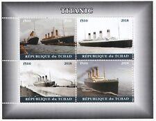 Chad 2018 MNH Titanic Sheetlet, 4 x f500 Vals, White Star Line, Nautical Stamp