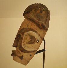 BEAU MASQUE IBO ANCIEN DU NIGERIA  RARE COIFFE + SOCLE EN MARBRE EX COLL PARIS