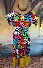 Multi-Color Huipil Dress Hand Embroidery Jalapa Mexico Hippie Southwestern Boho