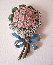~ vintage Crown Trifari 1941 pelliccia clip, SPILLA, SMALTATO Fiori, brevetto 125348