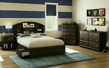 5-Piece Brown Full Storage Platform Bed with Headboard Bedroom Collection Set