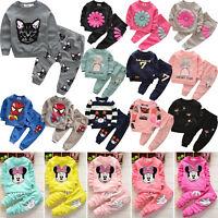 2PCS Toddler Kids Baby Boy Girl Sweatshirt T-shirt Tops Pants Clothes Outfit Set