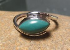 Sterling silver everyday turquoise stone ring UK M½-¾/US 6.5-6.75. Gift bag.