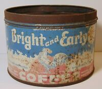 Vintage 1940s BRIGHT and EARLY COFFEE KEYWIND COFFEE TIN 1 POUND HOUSTON TEXAS