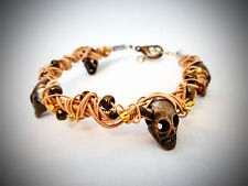 Gold Tone GUITAR STRING Bracelet w/ Copper Tone Skulls & Beads