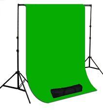 Studio fully adjustable backdrop support system 7ft x10ft greem muslin backdrop