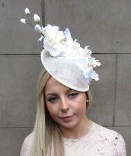 Cream White Orchid Flower Saucer Disc Hat Fascinator Races Wedding Ascot 5314