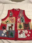 Ugly Christmas Vest red embroidered Sz L lg womens