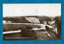1926 RP PC THE SEA WALLS, DURDHAM DOWNS, BRISTOL - HORSE DRAWN TRAPS