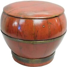 Red Lacquer Round Wood Box (77-303)