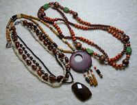 VINTAGE ASSORTED MULTI COLOR WOOD & LUCITE BEADED BOHO NECKLACE LOT