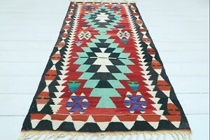 "Vintage Turkish Esme Small Kilim, Small Rug, Small Carpet Teppiche Tapis 31""x65"""