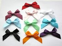 15mm Satin Ribbon Bows 10 Colours, Pack of 25, 60x55mm Overall Size Sealed ends