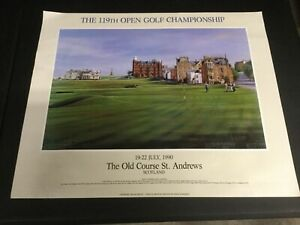 """""""THE 119TH OPEN CHAMPIONSHIP"""" 1990 GOLF LITHOGRAPH ST ANDREWS OLD COURSE 24""""X29"""""""