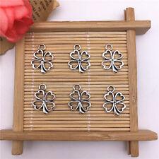 Wholesale 12pcs Tibet Silver Hollow Flower Charm Pendant Beaded Jewelry