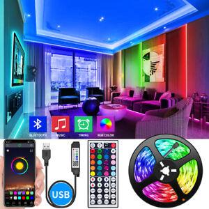 32.8ft 5V USB LED Strip Light TV Back Light 5050 RGB Change Bluetooth APP Remote