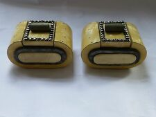 Art deco wood, cream and grey irridescent lacquer, silver stud detail inkwells